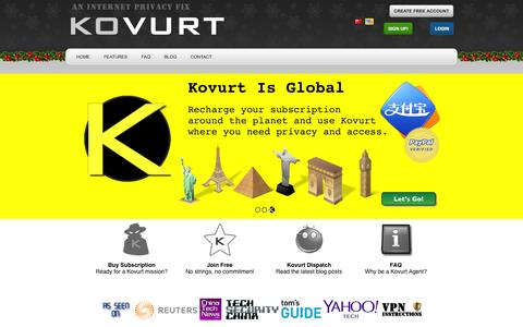 Screenshot of Home Page kovurt.com - Kovurt - An Internet Privacy Fix for Mobile and Internet Devices. - captured Jan. 9, 2016