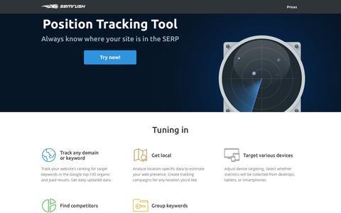 Screenshot of Landing Page semrush.com - SEMrush Position Tracking Tool - captured April 12, 2017