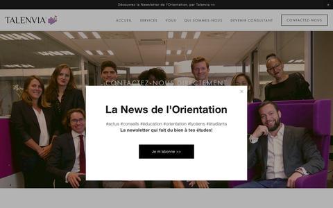 Screenshot of Contact Page talenvia.com - Contactez-nous — Talenvia | Cabinet de Conseil en Orientation - captured Oct. 20, 2018