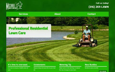 Screenshot of Home Page michaelscompletelawncare.com - Michael's Complete Lawn Care :: Home - captured Oct. 6, 2014