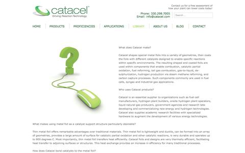Screenshot of FAQ Page catacel.com - Catacel Hydrogen production, fuel reforming, catalytic partial oxidation and more…Frequently asked questions about Catacel products and applications - Catacel - captured Oct. 2, 2014