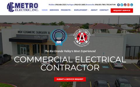 Screenshot of Home Page metroelectric-rgv.com - Commercial Electrical Contractor, McAllen, Brownsville - Metro Electric - captured Nov. 15, 2018