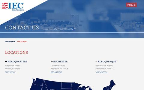 Screenshot of Locations Page iec-electronics.com - Contact Us - Locations | IEC Electronics - captured Nov. 11, 2018