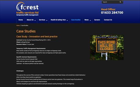 Screenshot of Case Studies Page forestsupportservices.co.uk - Case Studies - Forest Traffic Management - captured Nov. 3, 2014