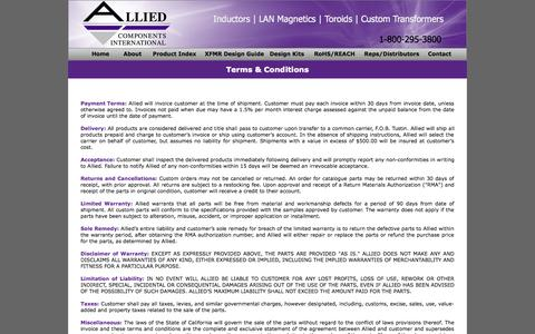 Screenshot of Terms Page alliedcomponents.com - Allied Components - captured Oct. 4, 2014