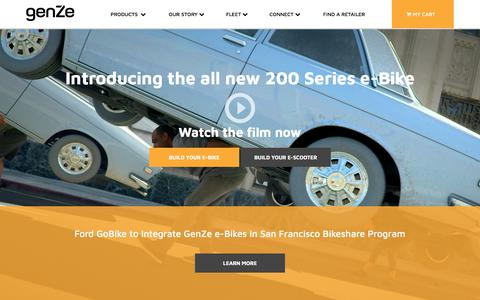Screenshot of Home Page genze.com - Electric Scooters & Electric Bikes   GenZe - captured April 21, 2018