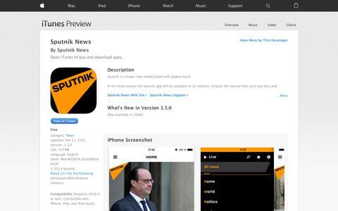 Screenshot of iOS App Page apple.com - Sputnik News on the App Store - captured Nov. 13, 2015