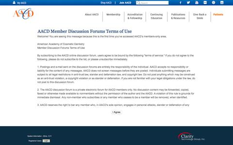 Screenshot of Terms Page aacd.com - American Academy of Cosmetic Dentistry - captured Oct. 2, 2015