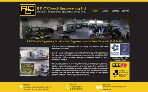 Screenshot of Home Page churchengineering.co.uk - R C Church Engineering Great Yarmouth Norfolk - captured Oct. 3, 2014