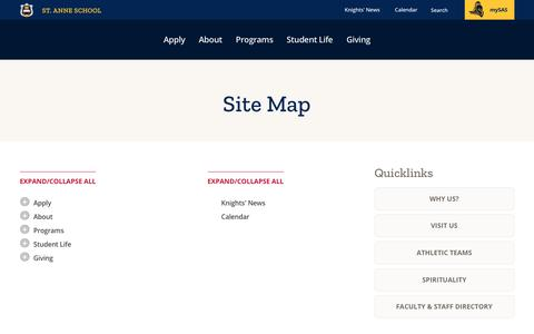 Screenshot of Site Map Page st-anne.org - Site Map | St. Anne School - captured Oct. 18, 2018