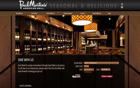 Screenshot of Locations Page paulmartinsamericangrill.com - Restaurant Locations & Reservations - Paul Martin's American Grill - captured Sept. 19, 2014