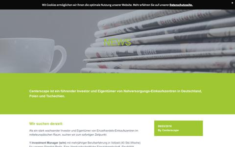 Screenshot of Press Page centerscape.de - news - captured Sept. 27, 2018