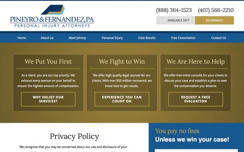 Screenshot of Privacy Page pineyrolaw.com - Privacy Policy | Pineyro Law Firm | Orlando Injury Lawyer - captured Jan. 28, 2016