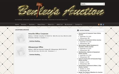 Screenshot of Locations Page auctionsouthwest.com - Category Archives: Locations - captured Oct. 5, 2018