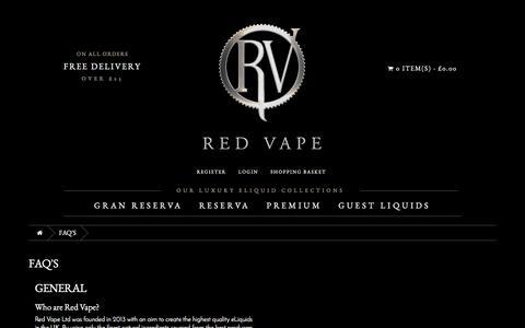 Screenshot of FAQ Page redvape.com - Frequently Asked Questions  | Red Vape.com - captured Dec. 12, 2016