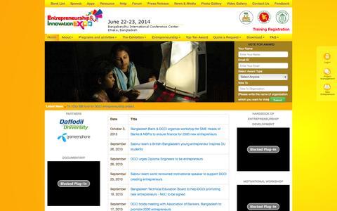 Screenshot of Press Page business.org.bd - DCCI Entrepreneurship & Innovation Expo-2013 - captured Oct. 31, 2014