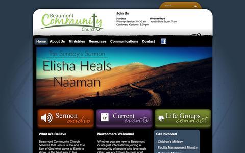 Screenshot of Home Page beaumontcommunitychurch.ca - Home - captured Nov. 6, 2018