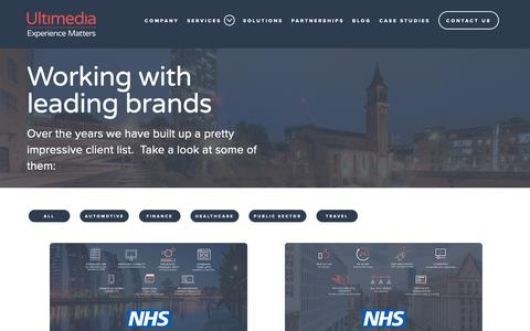 Screenshot of Case Studies Page ultimedia.co.uk - Ultimedia Case Studies - captured Oct. 20, 2018