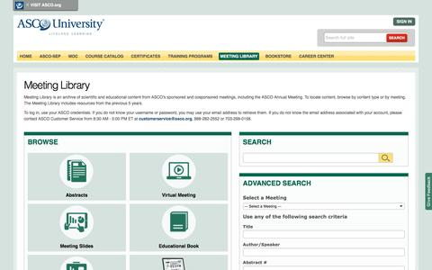 Meeting Library | ASCO Meeting Abstracts, Presentations, Educational Articles