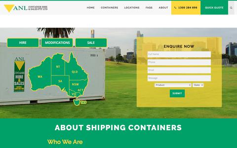 Screenshot of About Page anlcontainers.com.au - About Shipping Containers | ANL Container Hire & Sales - captured Oct. 7, 2017