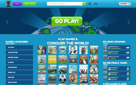 Screenshot of Home Page gamepix.com - GamePix - Play free online games & conquer the world! - captured Sept. 22, 2014