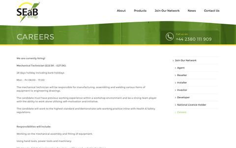 Screenshot of Jobs Page seabenergy.com - Careers – SEAB Energy - captured Nov. 17, 2016