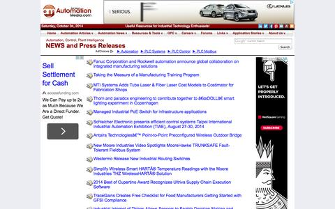 Screenshot of Press Page automationmedia.com - NEWS, Press Releases from Industry: Automation, Control, Plant Intelligence - captured Oct. 4, 2014