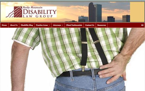Screenshot of Home Page rmdlg.com - Disability Law Group | Colorado Attorneys | Veterans Benefits Lawyers - captured Aug. 31, 2015
