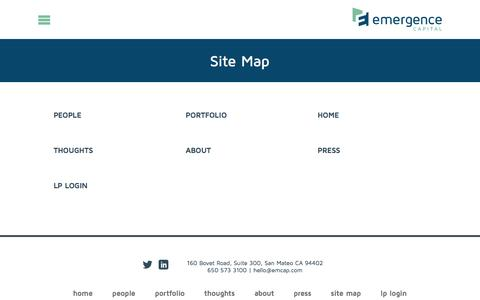 Screenshot of Site Map Page emcap.com - Site Map - Emergence Capital - captured Jan. 19, 2016