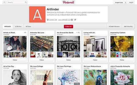 Screenshot of Pinterest Page pinterest.com - Artfinder on Pinterest - captured Oct. 25, 2014