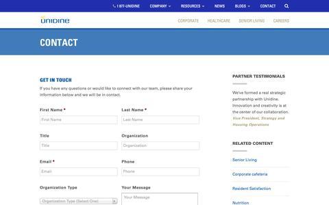 Screenshot of Contact Page unidine.com - Contact | Unidine - captured Oct. 12, 2018