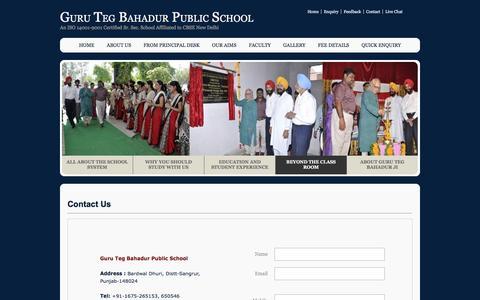 Screenshot of Contact Page gtbps-bardwal-dhuri.com - Guru Teg Bahadur Public School, Dhuri - captured Jan. 21, 2017