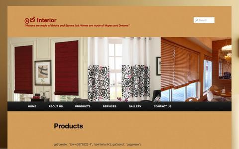 Screenshot of Products Page lakinterior.lk - Lak Interior - Products | ලක් Interior - captured Sept. 29, 2014