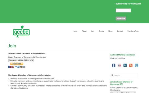Screenshot of Signup Page greenchamberofcommercebc.org - Join | Green Chamber of Commerce BC - captured Sept. 30, 2014