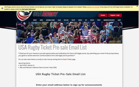 Screenshot of Signup Page usarugby.org - Tickets - captured March 7, 2016
