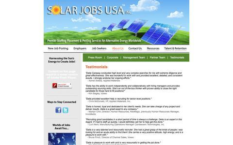 Screenshot of Testimonials Page solarjobsusa.com - Solar Jobs USA :: Testimonails - captured Jan. 11, 2016