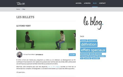 Screenshot of Blog bluedotfilms.fr - Blue Dot Films - Les billets - captured Sept. 30, 2014