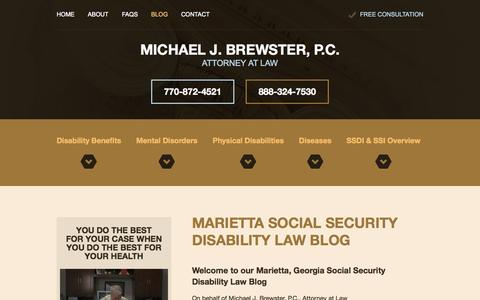Screenshot of Blog ssdiatlanta.com - Marietta Social Security Disability Law Blog | Michael J. Brewster - captured Nov. 3, 2014