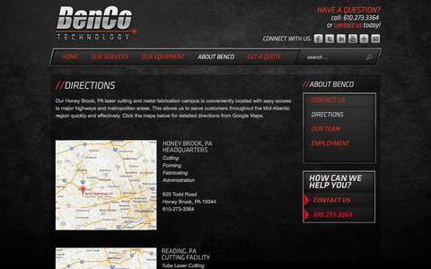 Screenshot of Maps & Directions Page bencotechnology.com - DIRECTIONS | Laser Cutting in PA & Metal Fabrication in PA | BenCo Technology - captured Oct. 5, 2014