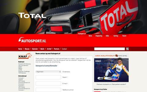 Screenshot of Contact Page autosport.nl - Contact autosport.nl | Autosport.nl - captured Nov. 21, 2016