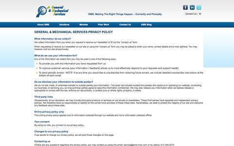 Screenshot of Privacy Page gms-hvac.com - Privacy Policy - captured Oct. 2, 2014