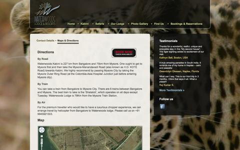 Screenshot of Maps & Directions Page waterwoods.in - Waterwoods Lodge & Resorts Pvt.Ltd. | Waterwoods Kabini - captured Oct. 7, 2014
