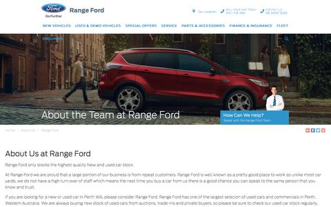 Screenshot of About Page rangeford.com.au - About the Team - Range Ford - captured Sept. 21, 2018
