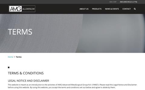 Screenshot of Terms Page amg-al.com - Terms – AMG Aluminum - captured Nov. 12, 2018