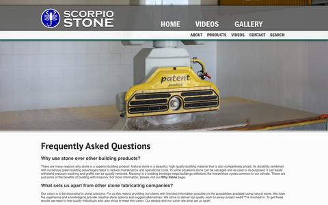 Screenshot of FAQ Page scorpiostone.com - Scorpio Stone - FAQ - captured Sept. 30, 2014