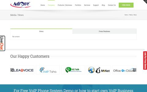 Screenshot of Press Page adoreinfotech.com - NEWS Adore Infotech | Adore Infotech PRESS RELEASES | NEWS - captured June 22, 2017