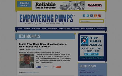 Screenshot of Testimonials Page empoweringpumps.com - Testimonials Archives - Empowering Pumps - captured Jan. 29, 2016
