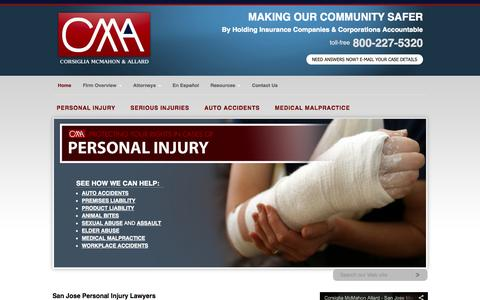 Screenshot of Home Page cmalaw.net - San Jose Personal Injury Lawyer, Wrongful Death, and Car Accident Attorneys in California - captured Oct. 3, 2014