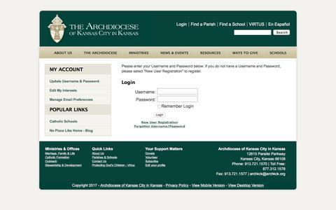 Screenshot of Login Page archkck.org - User Login Form - captured Oct. 8, 2017
