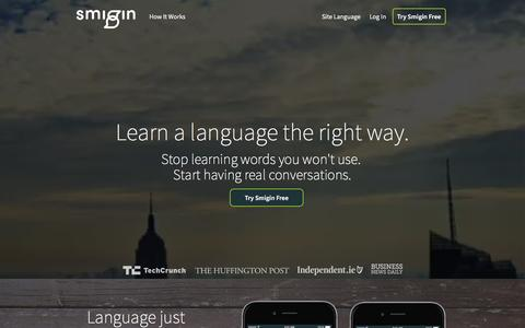 Screenshot of Home Page smigin.com - Smigin: All the language you need – Learn a language online - captured Feb. 26, 2016